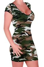 Womens Camouflage Scoop Neck Cap Sleeve Skinny Fit Bodycon Stretch Mini Dress