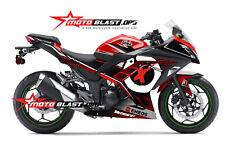 Fit 08-2012 Kawasaki Ninja 250R Black Star Flame Fairings Bodywork Kit Plastic