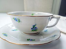 Herend Cup Saucer Footed Forget Me Not Flowers MYA Basket Weave Rocaille Form