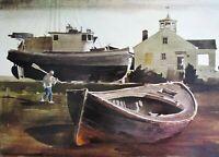 Vintage Art Print Peter McIntyre Port Townsend WA Boat Ship Nautical Lighthouse