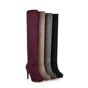 Womens Round Toe Stiletto Heels Over Knee Thigh High Boots Party Platform Shoes