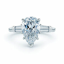 Pear Platinum Not Enhanced VVS1 Diamond Engagement Rings