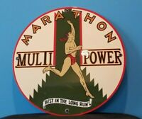 VINTAGE MARATHON GASOLINE PORCELAIN MULTI-POWER SERVICE STATION PUMP PLATE SIGN
