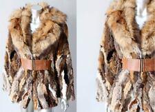 Retro Fox Fur Vintage 70s Shaggy Boho Hippy Cross Brown Jacket Coat Size M