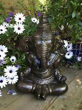 STONE GARDEN LARGE GOLD GANESH BUDDHA ELEPHANT PRAYING STATUE ORNAMENT