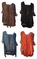 Pretty Angel Size S/M Top Dress Vintage Victorian Brown Orange Blue Black 10523