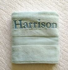 New! POTTERY BARN bath Towel Monogram   HARRISON  light blue