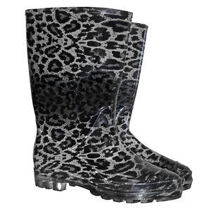 Gummischuhe Regenstiefel Damen-Stiefel Gummi-Stiefel Leopardenmuster (BTDWILD)