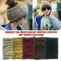 Cute Beanie tail Messy High Bun Ponytail Stretchy Knitted Skull Winter Warm Hats