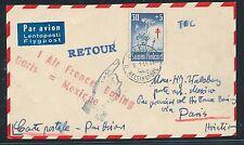 93090) France AF FF Paris - Mexico 16.1.61, Karte ab Finnland, flower Blumen TBC