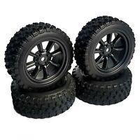 1/10 RC Rally 8 Spoke Wheels and Tyres Black Tamiya TT02 TT01 MF01X HPI Escort