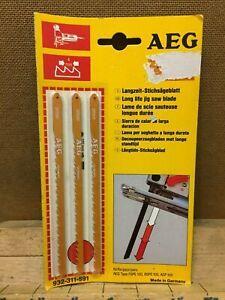 AEG 3 x Hard & Soft Wood up to 55mm Long Life Jigsaw Blades Germany 311591 NOS