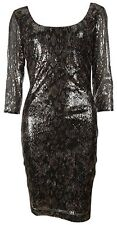 New GUESS Python Print Sequin Sheath Cocktail Dress Sexy Long Sleeve Grey 0 $148