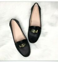 Kate Spade Womens Shoes Loafers Black Leather Gold Logo Size 8