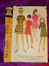 60s Mod Mini Dress 4 Vws Shrt or Lng Slv n Shorts McCalls Pattern 8953 B31 EASY