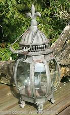 métal Lanterne Lys Française gris rostfinish Porte-Bougie Lampe tempête shabby
