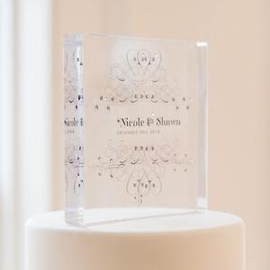 Personalized Fanciful Monogram Square Acrylic Wedding Cake Topper