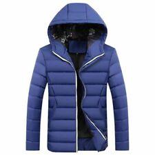 Men Winter Warm Coat Jacket Hooded Casual Overcoat Blue Size: S~3XL