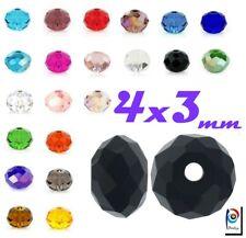 Tschechische Kristall Perlen Rondell 4 x 3 mm 25stk Glasperlen Schmuck Wählen