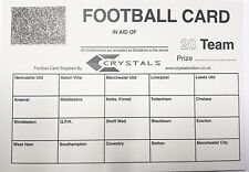 25 x 20 TEAM FOOTBALL FUNDRAISING SCRATCH CARDS GREAT QUALITY