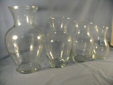 """4 CLEAR GLASS URN SHAPED VASE 11""""-9""""- 8""""-7"""" TALL, CONDITION IS NEW"""