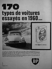 PUBLICITÉ 1960 BIDON BP ENERGOL VISCO-STATIC L'HUILE 5 FOIS RAFFINÉE- CITROËN DS