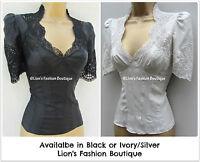 New KAREN MILLEN BNWT £115 Chic Lace Embroidery Silk Blouse Shirt Work Smart Top