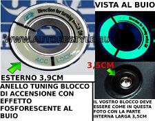 ANELLO GRIGIO TUNING BLOCCO ACCENSIONE EFFETTO FOSFORESCENTE VW GOLF POLO PASSAT