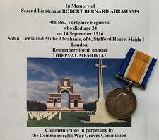British War Medal BWM WW1 Officer Killed In Action KIA Yorkshire Regiment