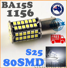 2x BA15S 1156 P21W 80SMD LED White 6000K Brake Reverse Light Bulb Globe Lamp 12V
