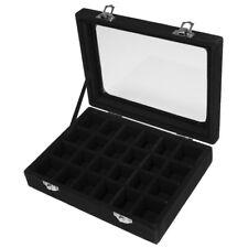 Elegant Jewelry Necklace Earring Storage Display Box Case Glass Lid Black