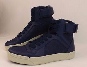 NIB GUCCI BLUE TEXTURED LEATHER GG GUCCISSIMA HI TOP SNEAKERS 9 US 10 #409766