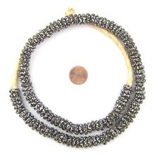 Black & White Fused Rondelle Recycled Glass Beads 11mm Ghana African Disk