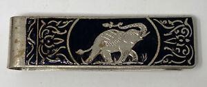 Cool Vintage Black Enamel  Elephant Trunk Up Silver Tone Money Clip