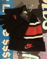 Nike Boys Winter Hat & Gloves Knit Beanie Black University Red Youth 8-20 / Nwt
