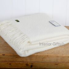 PURE NEW WOOL THROW Sofa Blanket PURE CREAM Basketweave British Plain Wafer GIFT