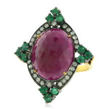 Natural Ruby Emerald Cocktail Ring 18k Gold Silver Pave Diamond Wedding Jewelry