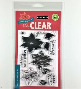 Hero Arts Color Layering Poinsettia Clear Stamp Set Christmas Flower Holiday