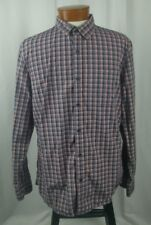 Wallin & Bros Mens Long Sleeve Button Front Shirt Cotton Red Blue White Plaid XL