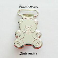 1 Pince Ourson, Clip bretelle, Attache tétine sucette doudou passant de 20 mm