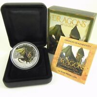 2013 $1 DRAGONS OF LEGEND EUROPEAN GREEN 1oz Silver Proof Coin