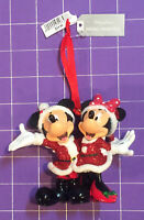 🌴 Disney Santa Mickey and Minnie Mouse Hand Painted Christmas Ornament NEW