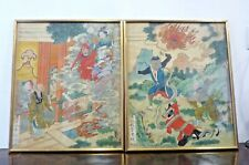 Pair of Antique Chinese Paintings on Silk