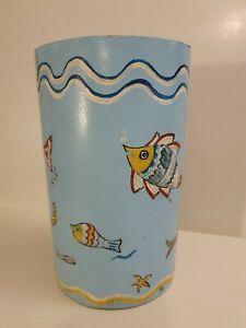 Vintage Hand Painted Wooden Tub Folk Art umbrella bucket bathroom fish seaside