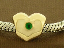 Bd054 - GENUINE 9ct SOLID Gold Natural Emerald HEART Bead Charm