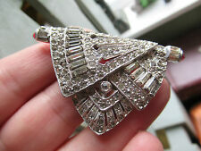 Vintage Costume Jewellery - Art Deco Dress/Fur Clip, With Red Cabachon ends.