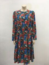 Vtg M&S St Michael UK size 18 floral tea dress calf length casual retro 80's