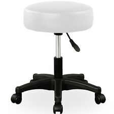 Swivel Office Chair With Wheels White Thick Seat Wheel PU Chairs Gas Lift Piano