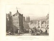 1830 ANTIQUE PRINT -WELLS-MARKET PLACE WITH OLD CONDUIT