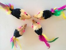 Cat toy lot 10 Black Real Fur Mice/ Feathers / Catnip+++FREE 4 Mice/Balls
